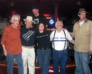 Hal (second to left) and friends with guitar legend Bill Kirchen (far left) during a swing through SLC (L to R: Kirchen, Hal, Dan Weldon above Hal, Korene Greenwood, original Three Aces guitarist Jimmy Blevins, and Brad Wheeler; Greenwood currently leads her own group Korene & Company, and Weldon and Wheeler perform as a well-esteemed blues duo called the Legendary Porch Pounders)